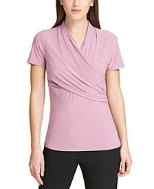 DKNY Petite Side-Ruched Top