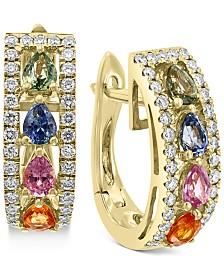 EFFY® Multi-Sapphire (1-7/8 ct. t.w.) and Diamond (1/2 ct. t.w.) Hoop Earrings in 14k Gold