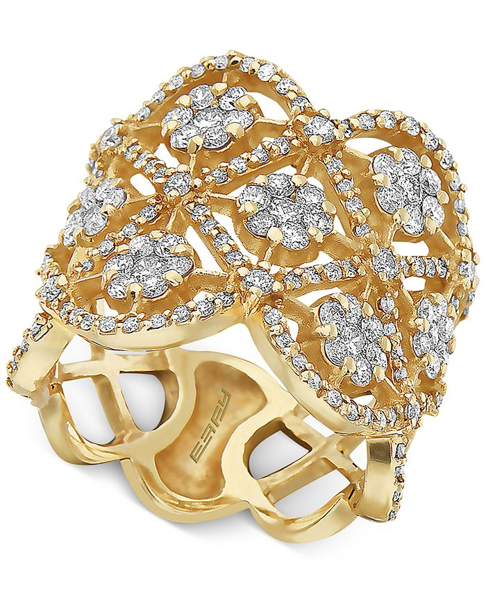 EFFY Collection - Diamond Flower Openwork Statement Ring (1-5/8 ct. t.w.) in 14k Gold