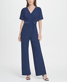 DKNY Flutter Sleeve V-Neck Jersey Jumpsuit