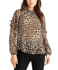Sheer Leopard-Print Top