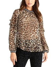RACHEL Rachel Roy Semi-Sheer Leopard-Print Top