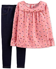 Carter's Little & Big Girls 2-Pc. Butterfly-Print Top & Denim Leggings Set