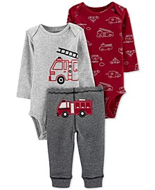 Baby Boys 3-Pc. Cotton Bodysuits & Firetruck Pants Set
