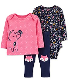 Baby Girls 3-Pc. Cotton Fox T-Shirt, Floral-Print Bodysuit & Fox Pants Set
