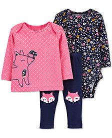 Carter's Baby Girls 3-Pc. Cotton Fox T-Shirt, Floral-Print Bodysuit & Fox Pants Set