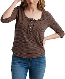 Cotton Striped Henley Top