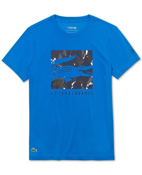 Lacoste Men's Performance Stretch Novak Djokovic Logo Graphic T-Shirt