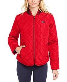 Quilted Bomber Zip Jacket