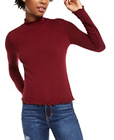 Juniors' Mock-Neck Lettuce-Trim Top