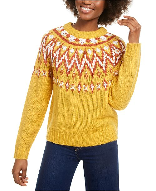 Hooked Up by IOT Hooked Up Juniors' Fair Isle Crewneck Sweater
