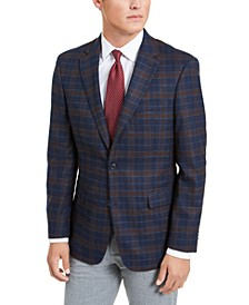 Men's Modern-Fit Stretch Navy/Burgundy Plaid Sport Coat