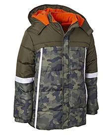 Wippette Little Boys Hooded Colorblocked Camo-Print Jacket With Hat