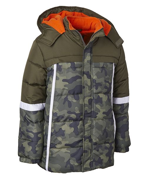 Ixtreme Wippette Big Boys Hooded Colorblocked Camo-Print Jacket With Hat