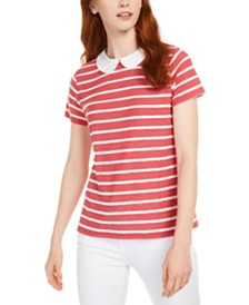 Maison Jules Peter Pan Collar Striped Top, Created for Macy's