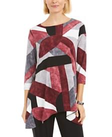 Alfani 3/4-Sleeve Geometric-Print Top, Created for Macy's