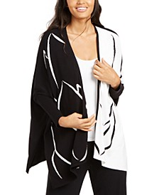 Two-Tone Open-Front Poncho Cardigan, Created for Macy's
