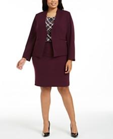 Calvin Klein Plus Size Collarless Jacket, Plaid Pleated-Neck Top & Pencil Skirt