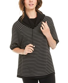 Anne Klein Asymmetrical-Hem Top