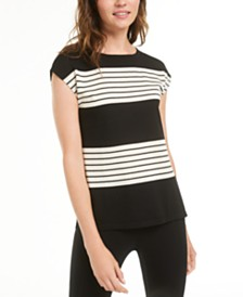 Anne Klein Striped Cap-Sleeve Top