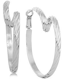 Twisted Omega Hoop Earrings in Fine Silver-Plate