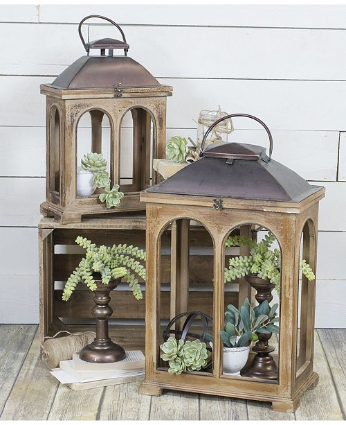 VIP Home & Garden 2- Piece Wood Lanterns