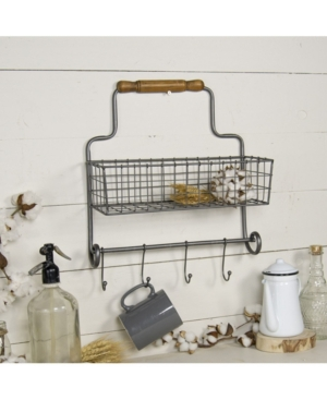 Vip Home & Garden Metal Wall Basket with Hooks