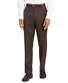 Men's Classic-Fit Stretch Brown Neat Suit Separate Pants