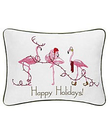 Happy Holidays Flamingos Embroidered Pillow