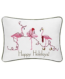 C&F Home Happy Holidays Flamingos Embroidered Pillow