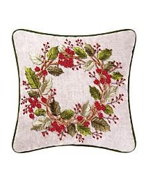 C&F Home Berry Wreath Ribbon Art Pillow