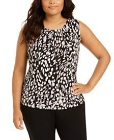 Calvin Klein Plus Size Animal-Print Pleated-Neck Top