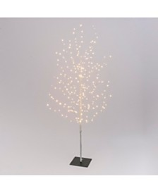 Everlasting Glow 70.8-Inch High Electric Tree with Warm White Micro LED Lights, White