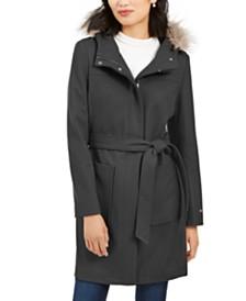 Tommy Hilfiger Belted Faux-Fur-Trim Hooded Coat