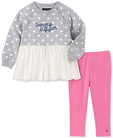 Baby Girls 2-Pc. Mesh Hem Tunic & Leggings Set