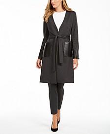 Faux-Leather-Trim Belted Cardigan & Slim-Leg Pants