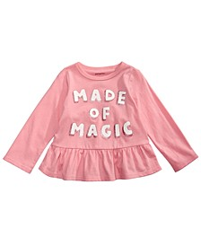 Baby Girls Baby Girls Cotton Long Sleeve Peplum-Hem T-Shirt, Created for Macy's