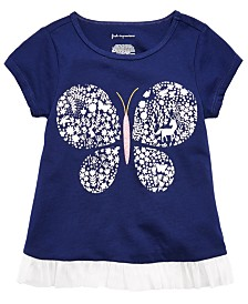 First Impressions Baby Girls Cotton Butterfly-Print T-Shirt, Created For Macy's