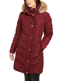 Chevron Faux-Fur Trim Hooded Down Puffer Coat
