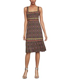 BCBGMAXAZRIA Printed Flare-Hem Dress