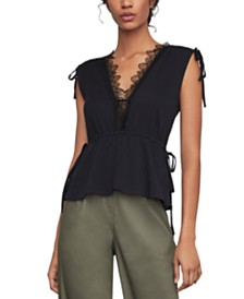BCBGMAXAZRIA Lace-Trim Peplum Top
