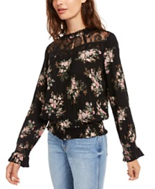 American Rag Juniors' Lace-Trimmed Smocked-Waist Blouse, Created for Macy's