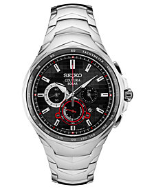 Seiko Men's Solar Chronograph Coutura Stainless Steel Bracelet Watch 45.5mm