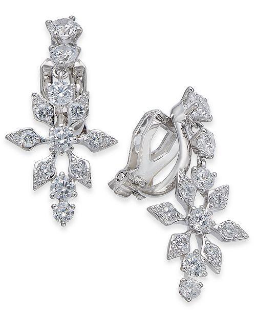 Eliot Danori Danori Silver-Tone Crystal Snowflake Clip-On Drop Earrings, Created For Macy's