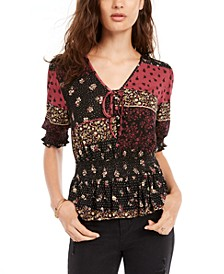 Juniors' Printed Smocked-Waist Peplum Top, Created for Macy's