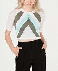 La La Anthony Striped Knit Crop Top