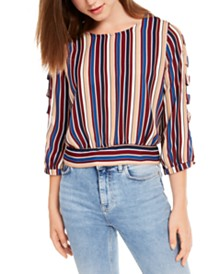 BCX Juniors' Striped Lattice-Sleeve Top