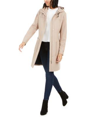 Belted Faux-Fur-Trim Hooded Coat