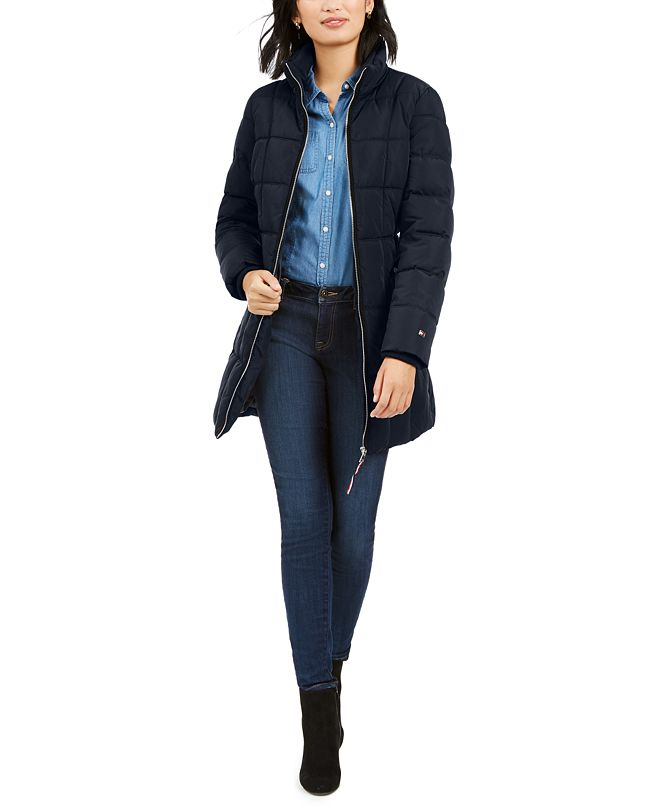 Tommy Hilfiger Belted Faux-Fur Trim Hooded Puffer Coat