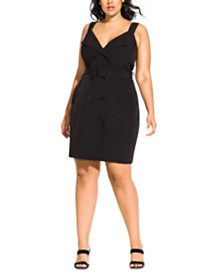 City Chic Trendy Plus Size Double-Breasted Mini Dress